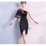 Sheath/Column Fashion One Shoulder Black Satin Party Dress With Embroidery New Arrival