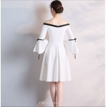 Elegant White Knee-length Off The Shoulder Long Sleeves Cocktail Dress New Arrival