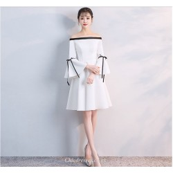 Elegant White Knee Length Off The Shoulder Long Sleeves Cocktail Dress