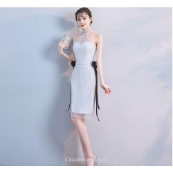 Sheath/Column Knee-length White Halter-neck Cocktail Party Dress With Black Ribbons