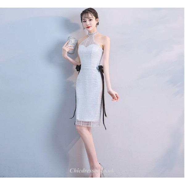 Sheath/Column Knee-length White Halter-neck Cocktail Party Dress With Black Ribbons New Arrival