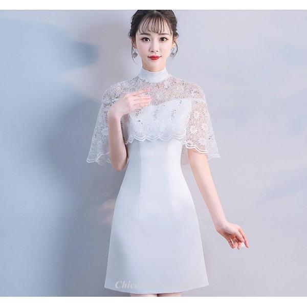 Elegant White Knee-length Cocktail Dress High-neck Party Dress New Arrival