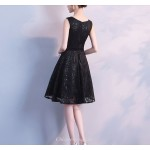 A-line Knee-length Black Party Dress Fashion Petite V-neck Sleeveless Cocktail Dress With Sequines New Arrival