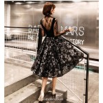 A-line Medium-length Fashion Printing Cocktail Dress Invisible Zipper Round Collar With Folds Black Organza With Sequines New Arrival