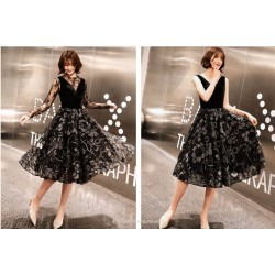 A-line Medium-length Fashion Printing Cocktail Dress Invisible Zipper Round Collar With Folds Black Organza With Sequines