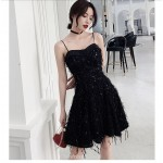 A-line Short Spaghetti Straps Petite BlackCocktail Party Dress With Sequines New Arrival