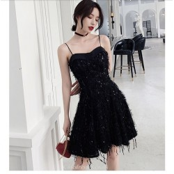 A-line Short Spaghetti Straps Petite BlackCocktail Party Dress  With Sequines