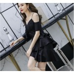 Fashion Lotus Edge One Shoulder 3/4 Sleeves V-neck Short Cocktail Party Dress New Arrival
