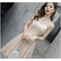 A-line Knee-length Spaghetti Straps Cocktail Dress With Sequines