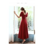 A-line Ankle-Length Red Evening Dress Fashion Neck Short Sleeves Zipper Back Party Dress New Arrival