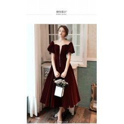 Fashion Medium-Length Burgundy Evening Dress Illusion-Neck Short Sleeves Lace-up Party Dress With Button