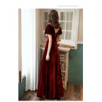 A-line Floor-Length Burgundy Velvet Evening Dress Illusion V-neck Lace-up Short Sleeves Party Dress New Arrival