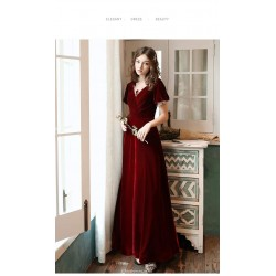 A-line Floor-Length Burgundy Velvet Evening Dress Illusion V-neck Lace-up Short Sleeves Party Dress