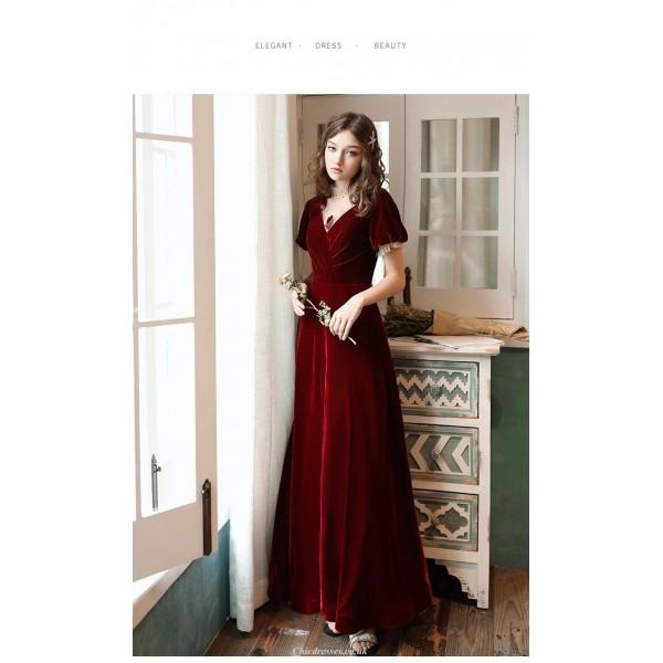 A-line Floor-Length Burgundy Velvet Evening Dress Illusion V-neck Lace-up Short Sleeves Party Dress New Arrival