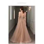 Fashion Floor-Length Champagne Tulle Evening Dress Jewel-neck V-back Party Dress With Beaded New Arrival