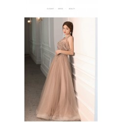 Fashion Floor-Length Champagne Tulle Evening Dress Jewel-neck V-back Party Dress With Beaded