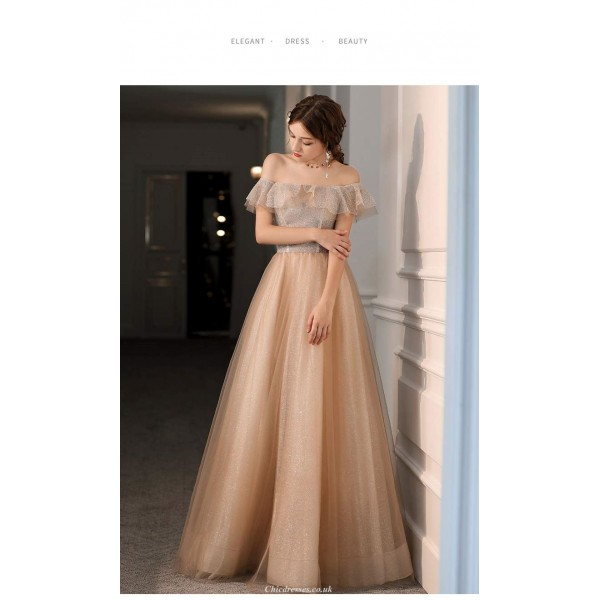 A-line Floor-Length Champagne Tulle Evening Dress Off The Shoulder Lace-up Party Dress New Arrival