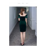 Sheath/Column Short Blackish Green Velvet Semi Formal Dress Off The Shoulder Invisible Zipper Cocktail/Party Dress New Arrival