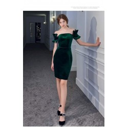 Sheath/Column Short Blackish Green Velvet Semi Formal Dress Off The Shoulder Invisible Zipper Cocktail/Party Dress