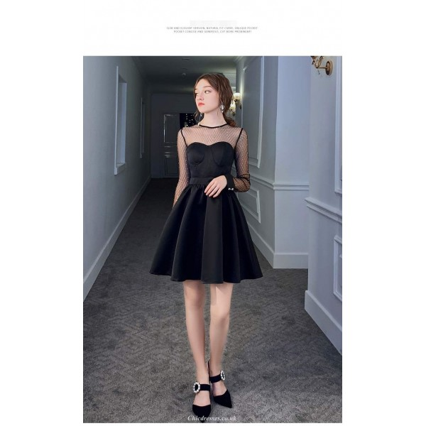 A-line Short Black Hot Drill Party Dress Illusion Long Sleeves Invisible Zipper Cocktail Dress New Arrival