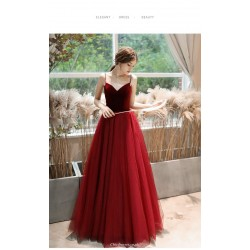 A-line Floor Length Organza Burgundy Evening Dress Lace-up Spaghetti Straps Engagement Dress With Sequines