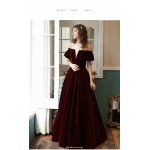 Unique Floor-Length Burgundy Velvet Party Dress Off The Shoulder Invisible Zipper Ball Gown New Arrival