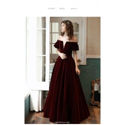 Unique Floor-Length Burgundy Velvet Party Dress Off The Shoulder Invisible Zipper Ball Gown