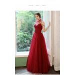 A-line Floor-Length Red Tulle Evening Dress Spaghetti Straps Lace-up Party Dress With Sequines New Arrival