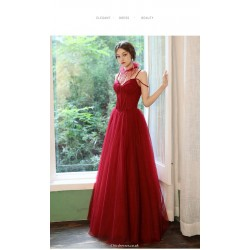A Line Floor Length Red Tulle Evening Dress Spaghetti Straps Lace Up Party Dress With Sequines