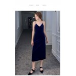 Sheath/Column Medium and Long-Style Blue Velvet Evening Dress Spaghetti Straps V-neck Invisible Zipper Party Dress New Arrival