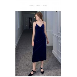 Sheath/Column Medium and Long-Style Blue Velvet Evening Dress Spaghetti Straps V-neck Invisible Zipper Party Dress