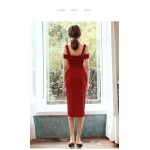 Sheath/Column Medium And Long-Style Cocktail Dress With Side Slit/Sashes Fashion Collar Party Dress New Arrival