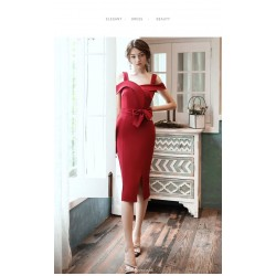 Sheath Column Medium And Long Style Cocktail Dress With Side Slit Sashes Fashion Collar Party Dress