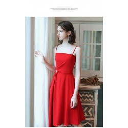 Simple Spaghetti Straps Medium And Long Style Red Chiffon Prom Dress