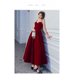 Ankle-Length Red Velvet Evening Dress Spaghetti Straps Lace-up Backless Ball Gown
