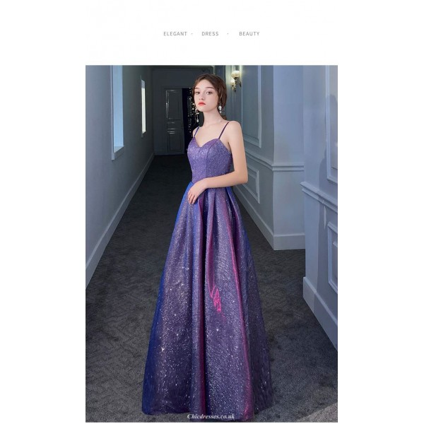 Floor-Length Sequined Sparkle & Shine Starry Sky Dress Spaghetti Straps Evening Dress With Pockets New Arrival