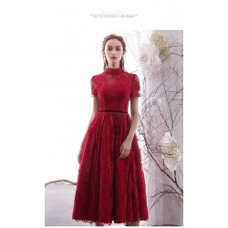 A-line Medium-Length Red Lace Evening Dress Zipper Back Short Sleeves Party Dress
