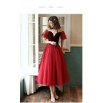 A-line Medium-Length Organza Evening Dress Illusion-neck Lae-up Short Sleeves Party Dress New Arrival
