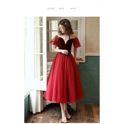 A-line Medium-Length Organza Evening Dress Illusion-neck Lae-up Short Sleeves Party Dress