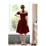 A-line Knee-Length Red Semi Formal Dress Off The Shoulder Zipper Back Party Dress With Bowknot New Arrival