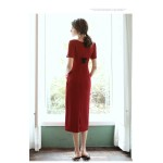 Sheath/Column Medium-Length Red Semi Formal Dress Scoop-neck Short Sleeves Party Dress With Slit/Bowknot New Arrival
