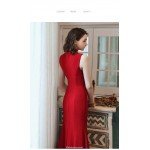 Mermaid/Trumpet Ankle-Length Red Evening Dress Stand Collar Keyhole Invisible Zipper Party Dress New Arrival