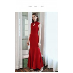 Mermaid/Trumpet Ankle-Length Red Evening Dress Stand Collar Keyhole Invisible Zipper Party Dress