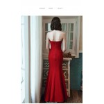 Mermaid/Trumpet Ankle-Length Red Elastic Satin Evening Dress Sweetheart Lace-up Party Dress New Arrival