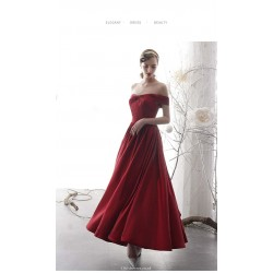 Fashion Long Red Satin Evening Dress Off The Shoulder Lace-up Party Dress With Pockets