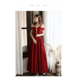 Fashion Ankle-length Red Evening Dress Off The Shoulder Bow at neckline Lace-up Engagement Dress