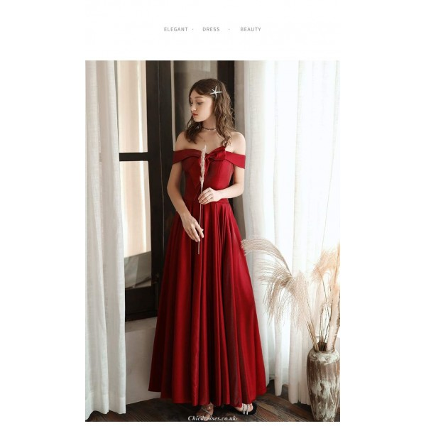 Fashion Ankle-length Red Evening Dress Off The Shoulder Bow at neckline Lace-up Engagement Dress New Arrival