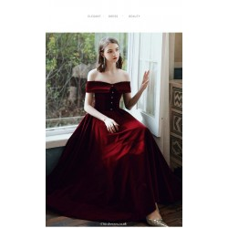 Fashion Long Burgundy Velvet Evening Dress Off The Shoulder Lace-up Party Dress With Button