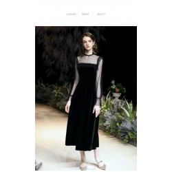 Sheath/Column Medimn and Long-style Little Black Dress Long Sleeves Invisible Zipper Lace and Velvet Evening Dress