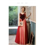 A-line Floor-length Red Tulle Velvet Evening Dress Spaghetti Straps Lace-up Party Dress With Bowknot New Arrival
